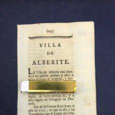 Documentos antiguos: DESCRIPCIÓN DE LA VILLA DE ALBERITE DE SAN JUAN, DEL AÑO 1779. IMPRESO ORIGINAL.. Lote 213724800