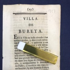 Documentos antiguos: DESCRIPCIÓN DE LA VILLA DE BURETA, DEL AÑO 1779. IMPRESO ORIGINAL.. Lote 213724956