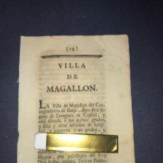 Documentos antiguos: DESCRIPCIÓN DE LA VILLA DE MAGALLÓN, DEL AÑO 1779. IMPRESO ORIGINAL.. Lote 213725030