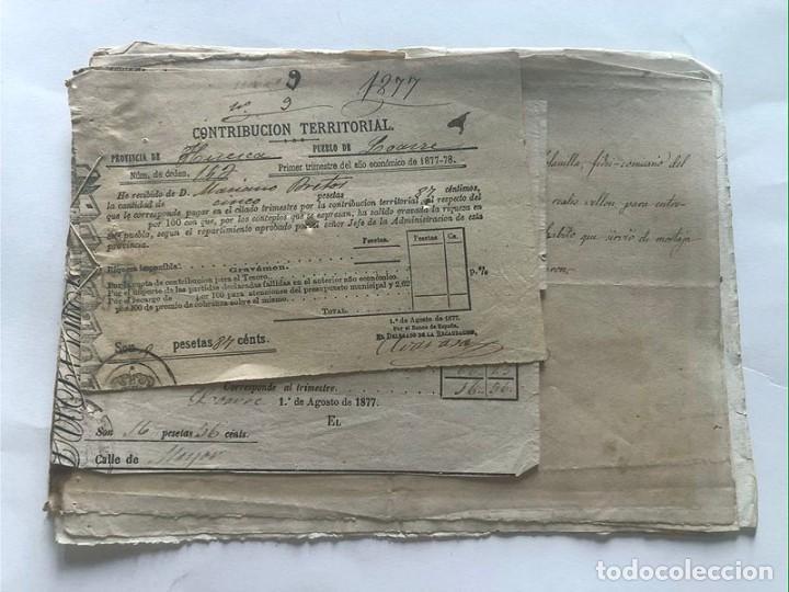 Documentos antiguos: LOARRE 1877 ( HUESCA ) LOTE DE 17 DOCUMENTOS / RECIBOS VARIOS, GASTOS, CONTRIBUCION - Foto 8 - 213725118