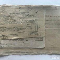 Documentos antiguos: LOARRE 1877 ( HUESCA ) LOTE DE 17 DOCUMENTOS / RECIBOS VARIOS, GASTOS, CONTRIBUCION. Lote 213725118