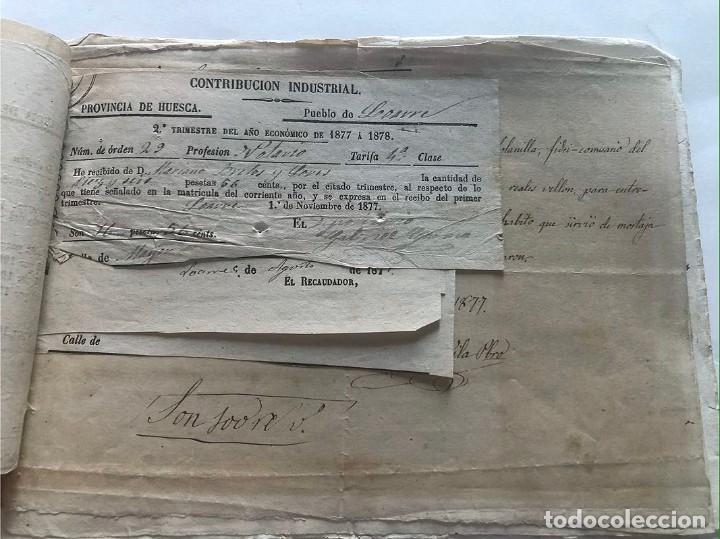 Documentos antiguos: LOARRE 1877 ( HUESCA ) LOTE DE 17 DOCUMENTOS / RECIBOS VARIOS, GASTOS, CONTRIBUCION - Foto 2 - 213725118