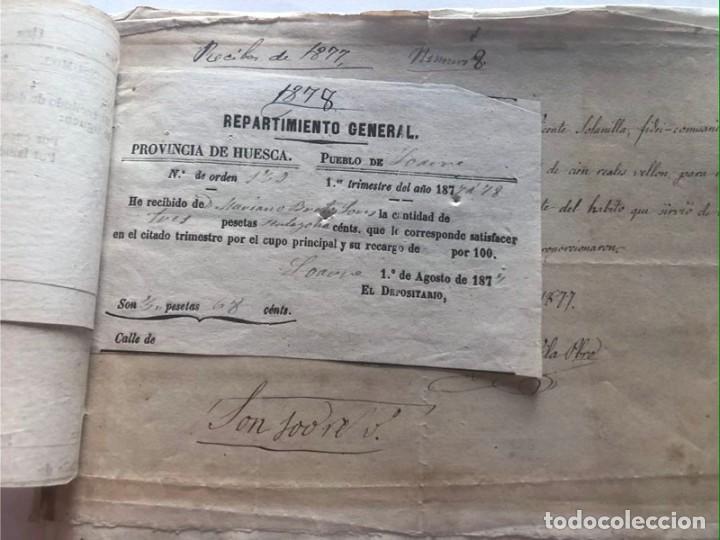 Documentos antiguos: LOARRE 1877 ( HUESCA ) LOTE DE 17 DOCUMENTOS / RECIBOS VARIOS, GASTOS, CONTRIBUCION - Foto 3 - 213725118