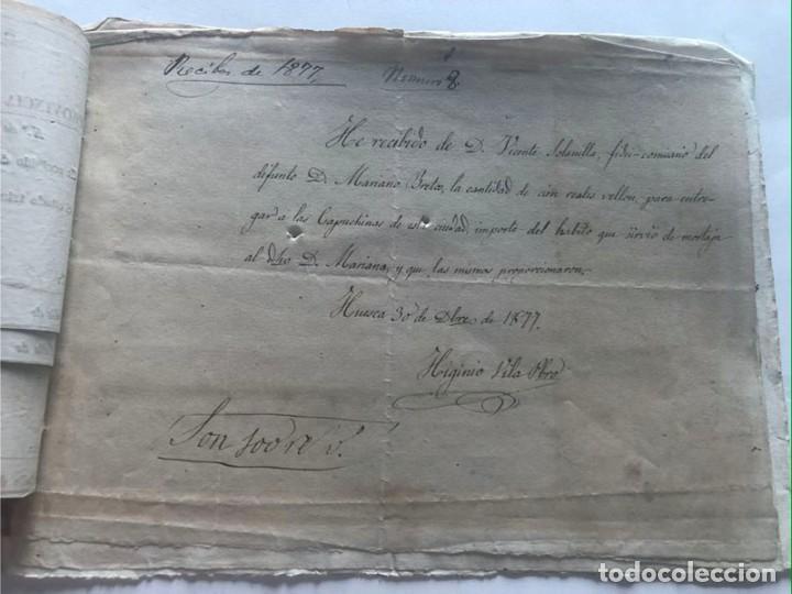 Documentos antiguos: LOARRE 1877 ( HUESCA ) LOTE DE 17 DOCUMENTOS / RECIBOS VARIOS, GASTOS, CONTRIBUCION - Foto 4 - 213725118