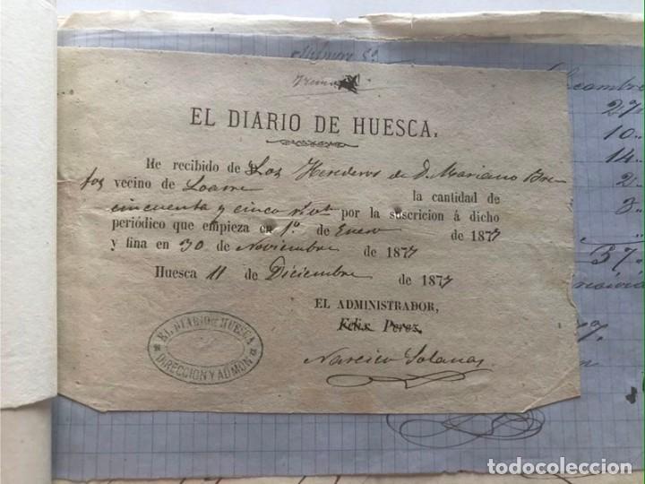 Documentos antiguos: LOARRE 1877 ( HUESCA ) LOTE DE 17 DOCUMENTOS / RECIBOS VARIOS, GASTOS, CONTRIBUCION - Foto 5 - 213725118