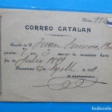 Documentos antiguos: RECIBO SUSCRIPCIÓN AL CORREO CATALÁN. BARCELONA, 1899.. Lote 213725732