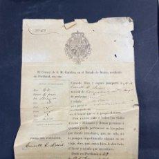 Documentos antiguos: MAINE. ESTADOS UNIDOS. CONSUL DE ESPAÑA. PASAPORTE. 1860. VER FOTOS. Lote 213758976