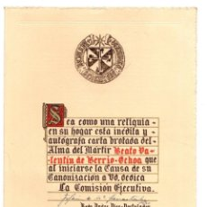 Documents Anciens: CARTA INEDITA Y AUTOGRAFA DEL BEATO VALENTIN DE BERRIO-OCHOA. INCLUYE RELIQUIA DEL BEATO. AÑOS 80. Lote 214099582