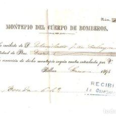Documentos antigos: RECIBO MONTEPIO DEL CUERPO DE BOMBEROS. BILBAO, ENERO DE 1895. Lote 214099937