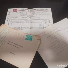 Documentos antiguos: CARTA DOCUMENTO SOBRE INSTITUTO EDITORIAL REUS LIBRERIA JURISPERICIA ACADEMIA EDITORIAL 1966. Lote 214220615