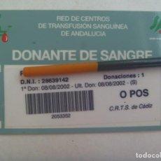 Documentos antiguos: RED CENTROS TRANSFUSION SANGUINEA ANDALUCIA : CARNET DE DONANTE DE SANGRE. CADIZ, 2002. Lote 214220767