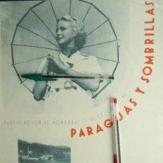 Documentos antiguos: PUBLICIDAD VINTAGE 1937 PARAGUAS SOMBRILLAS JUAN GARAY OÑATE ALTO DEBA GUIPUZCOA EUSKADI PAIS VASCO. Lote 214362278