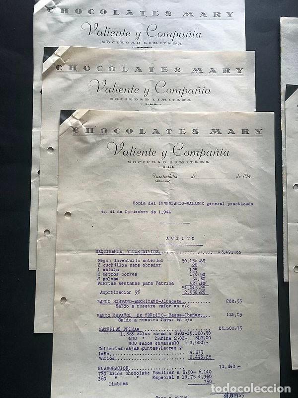 Documentos antiguos: CHOCOLATES MARY - VALIENTE Y COMPAÑIA / FUENTEALBILLA ( ALBACETE ) INVENTARIO Y BALANCE AÑO 1944 - Foto 2 - 214527315