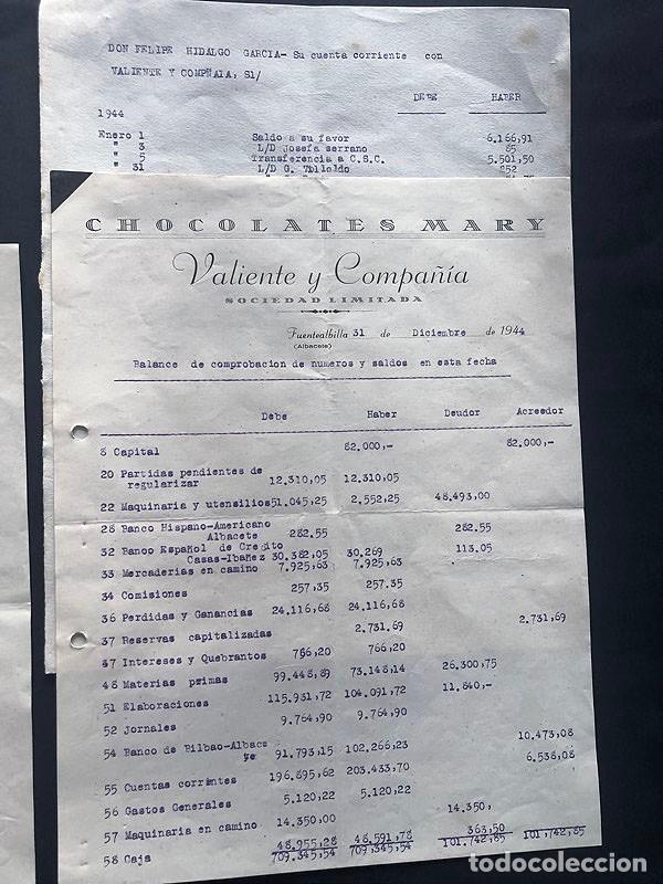 Documentos antiguos: CHOCOLATES MARY - VALIENTE Y COMPAÑIA / FUENTEALBILLA ( ALBACETE ) INVENTARIO Y BALANCE AÑO 1944 - Foto 3 - 214527315