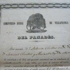 Documentos antiguos: VILLAFRANCA DEL PANADES-CEMENTERIO RURAL-AÑO 1854-DOCUMENTO ANTIGUO-VILAFRANCA-VER FOTOS-(V-21.965). Lote 215477640