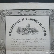 Documentos antiguos: VILLAFRANCA DEL PANADES-CEMENTERIO RURAL-AÑO 1858-DOCUMENTO ANTIGUO-CON SELLO-VER FOTOS-(V-21.966). Lote 215477683