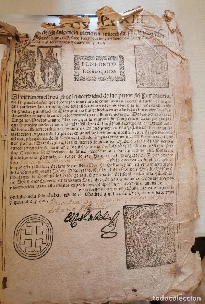 RARA BULA DE INDULGENCIA PLENARIA, 1743, PAPA BENEDICTO XIV, 22X31 CMS (Coleccionismo - Documentos - Otros documentos)