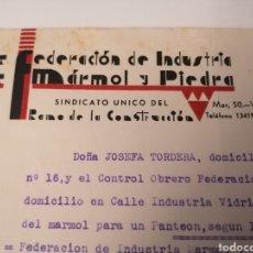 Documentos antiguos: VALENCIA. FEDERACIÓN INDUSTRIA MARMOL Y PIEDRA. RAMO CONSTRUCCIÓN. CONTROL OBRERO. CNT AIT. 1938. Lote 215590032