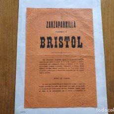 Documentos antiguos: ZARZAPARRILLA FORMULA BRISTOL, HOJA PUBLICITARIA AÑOS 20-30. Lote 215674713