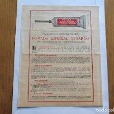 Documentos antiguos: POMADA ESPECIAL CENARRO, CURACIÓN INFALIBLE DE LAS ALMORRANAS, HOJA PUBLICITARIA. Lote 215674982