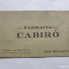 Documentos antiguos: FARMACIA CABIRÓ DE SAN SEBASTIÁN, TARJETÓN. Lote 215675310