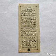 Documentos antiguos: ASPIRINA, TABLETAS BAYER DE 1/2 GRAMO. PROSPECTO. Lote 215691500