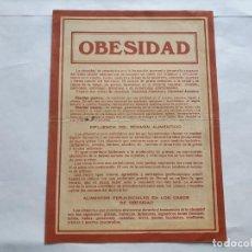 Documentos antiguos: OBESIDAD. PUBLICIDAD DEL TRATAMIENTO FELT-FORT DEL DOCTOR RICHTER. Lote 215692787