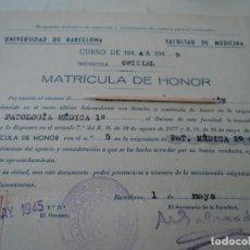 Documentos antiguos: LOTE DE 27 MATRICULACIONES DIFERENTES ESPECIALIDADES MEDICAS 1940-46 SIETE CON MATRICULA DE HONOR. Lote 215718017