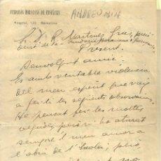 Documenti antichi: 4048.- TROTSKISME - ANDREU NIN - FUNDACION HORACIANA DE ENSEÑANZA-CARTA DE NIN RECLAMANT PAGAMENT. Lote 216468738