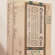 Documentos antiguos: DOCUMENTO ANTIGUO LIBRERIA CERON AÑOS 30. Lote 216825155