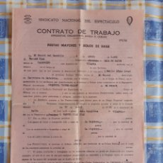 Documentos antiguos: CONTRATO ORQUESTA LOPEZ MALDE - SALA MARAVILLAS (FERROL). Lote 217116471