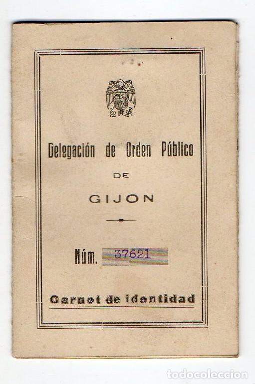 CARNET DE IDENTIDAD. DELEGACION DE ORDEN PUBLICO DE GJÓN.JOVE. 1939. GUERRA CIVIL. ASTURIAS (Coleccionismo - Documentos - Otros documentos)