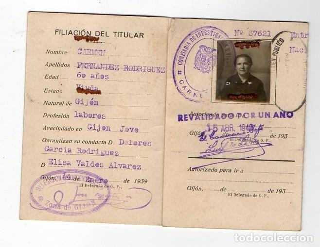 Documentos antiguos: CARNET DE IDENTIDAD. DELEGACION DE ORDEN PUBLICO DE GJÓN.JOVE. 1939. GUERRA CIVIL. ASTURIAS - Foto 2 - 217120713