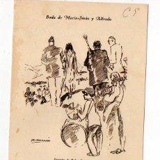 Documentos antiguos: ANTIGUO MENU. COVADONGA. 1928. DISEÑADA POR RICARDO MARIN. FIRMADA POR INVITADOS FAMOSOS. ASTURIAS. Lote 239543740