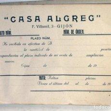 Documentos antiguos: ANTIGUO TACO DE RECIBOS CASA ALGREG. AMPLIACIONES FOTOGRAFIA. GIJÓN. 1921. ASTURIAS. Lote 217127747