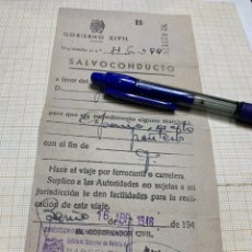 Documentos antiguos: SALVOCONDUCTO GOBIERNO CIVIL BARCELONA. Lote 217160478