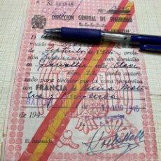 Documentos antiguos: SALVOCONDUCTO ESPECIAL DE FRONTERAS DIRECCIÓN GENERAL DE SEGURIDAD. Lote 217160830