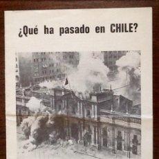 Documentos antiguos: GOLPE MILITAR CHILE. INFORME EMBAJADA - PRO PINOCHET - 1973. ENVIO CERTIFICADO INCLUIDO... Lote 217368743
