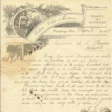 Documenti antichi: CALIXTO VILLAR MARTÍNEZ. FÁBRICA DE BAYETAS. PRADOLUENGO. BURGOS. 1907. CARTA A A. BADÍA. SABADELL.. Lote 217466202