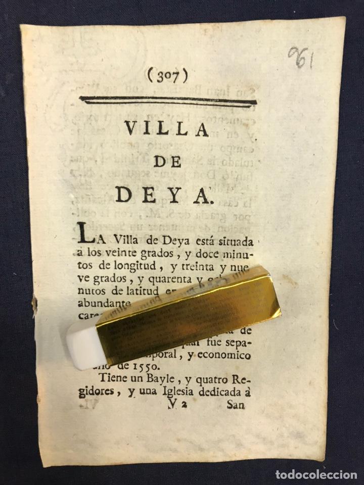 DESCRIPCIÓN DE LA VILLA DE DEYA, DEL AÑO 1779. IMPRESO ORIGINAL. BALEARES. (Coleccionismo - Documentos - Otros documentos)