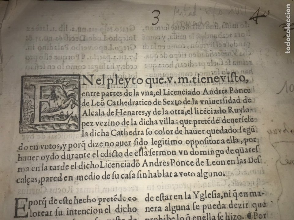 CIRCA 1650. ALCALA DE HENARES. PLEITO SOBRE PLAZA CATEDRA UNIVERSIDAD ALCALÁ. FIRMA MANUSCRITA (Coleccionismo - Documentos - Otros documentos)