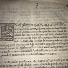 Documentos antiguos: CIRCA 1650. ALCALA DE HENARES. PLEITO SOBRE PLAZA CATEDRA UNIVERSIDAD ALCALÁ. FIRMA MANUSCRITA. Lote 217726145