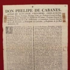 Documentos antiguos: BANDO EDICTO, PROHIBICIÓN TRABAJO EN FESTIVOS, BARCELONA 1778, ORIGINAL, (39X28). Lote 217922678