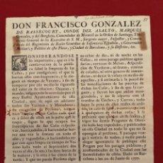 Documentos antiguos: BANDO EDICTO, OBLIGACIÓN LIMPIEZA CALLES, BARCELONA 1777, ORIGINAL, (39X29). Lote 217922953