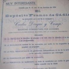 Documentos antiguos: DOCUMENTO MIY INTERESANTE DE CADIZ. Lote 218052010