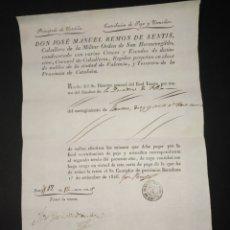 Documentos antiguos: CARTA DE PAGO CABALLERO MILITAR ORDEN SAN HERMENEGLIDO CATALUÑA CONTRIBUCIÓN PAJA Y UTENSILIOS FLIX. Lote 218128065