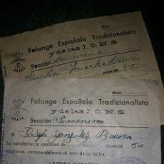 Documentos antiguos: RECIBOS FALANGE ESPAÑOLA GRANADA GUERRA CIVIL. Lote 218210157