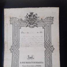 Documentos antiguos: ANTIGUO DOCUMENTO DEL COLEGIO DE NOTARIOS DE PAMPLONA. Lote 218215653