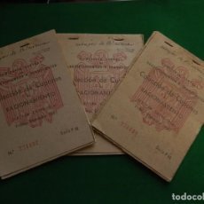 Documentos antiguos: TRES CARTILLAS CUPONES DE RACIONAMIENTO. PRIMER SEMESTRE 1952. SERIE. PM.. Lote 218229495