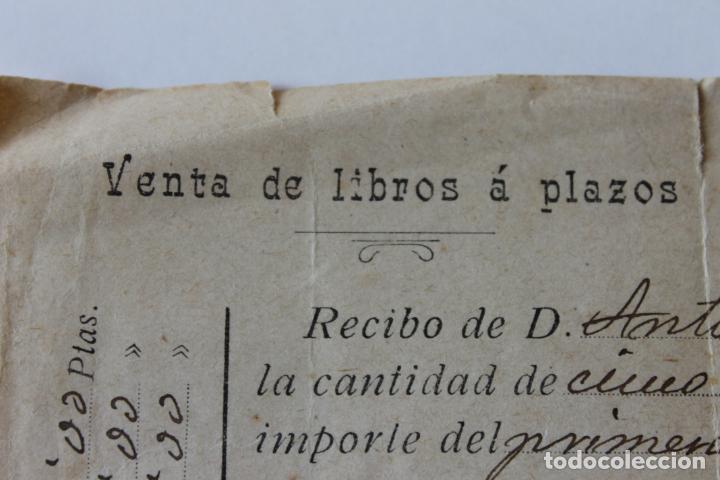 Documentos antiguos: RECIBO VENTA DE LIBROS A PLAZOS, MURCIA MARZO 1910 - Foto 2 - 218354118